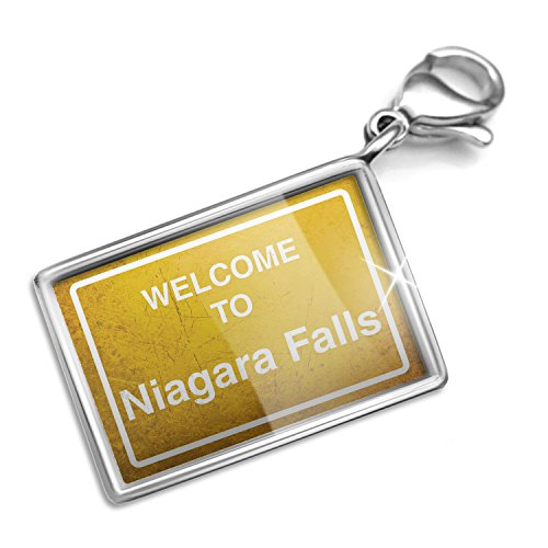 Clip on Charm & Bracelet Set Yellow Road Sign Welcome To Niagara Falls Lobster Clasp by NEONBLOND