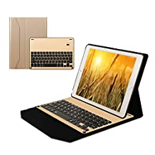 Seetop Flip PU Leather Ipad pro 10.5 Bluetooth Keyboard Case Auto Sleep / Wake Slim thin Magnetic Detachable Aluminum Alloy Material 7 Colors Led Backlit Keyboard Cover for ipad pro 10.5 (Gold)