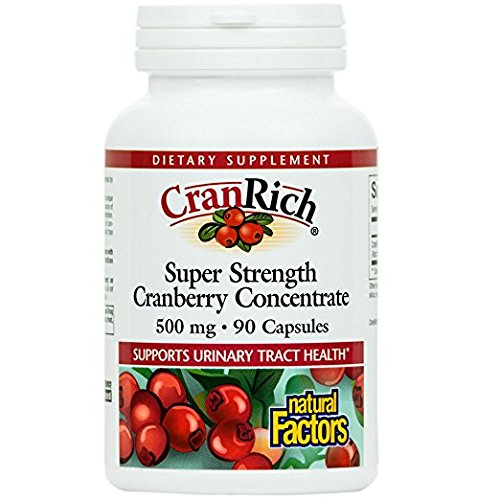 Natural Factors - CranRich Super Strength Cranberry Concentrate 500mg, Supports Urinary Tract Health and Helps Prevent Bacteria, 90 Capsules (Cranberry Natural Factors)