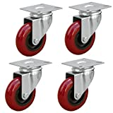 POWERTEC 17206 3-Inch Swivel Polyurethane Plate Caster, Red, 4-Pack