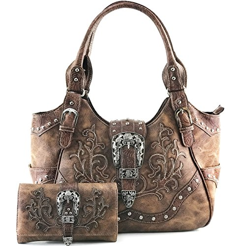 Wallets Womens Western - Justin West Gleaming Laser Cut Rhinestone Buckle Studded Concealed Carry Handbag Purse (Brown Purse Wallet Set)
