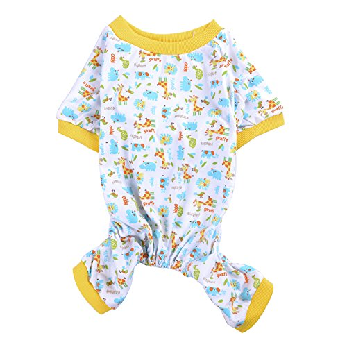 Summer Cute Printed Pet Dog Pajamas Dog Shirt Cozy Soft Dog Clothes Yellow XL (Cozy Dog Pajamas)