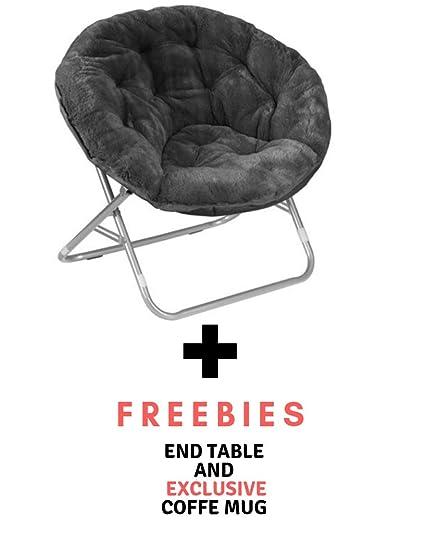 Excellent Mainstay Faux Fur Saucer Chair Black Freebies Faux Fur Pabps2019 Chair Design Images Pabps2019Com