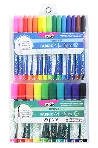 Tulip 33711 Permanent Nontoxic Fabric Markers 25 Pack - Fine & Large Bullet Tip, Child Safe, Minimal Bleed & Fast Drying - Premium Quality for T-Shirts, Clothes, Shoes, Bags & Other Fabric Materials
