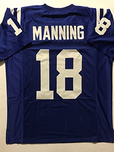 (Unsigned Peyton Manning Indianapolis Blue Custom Stitched Football Jersey Size XL New No Brands/Logos)