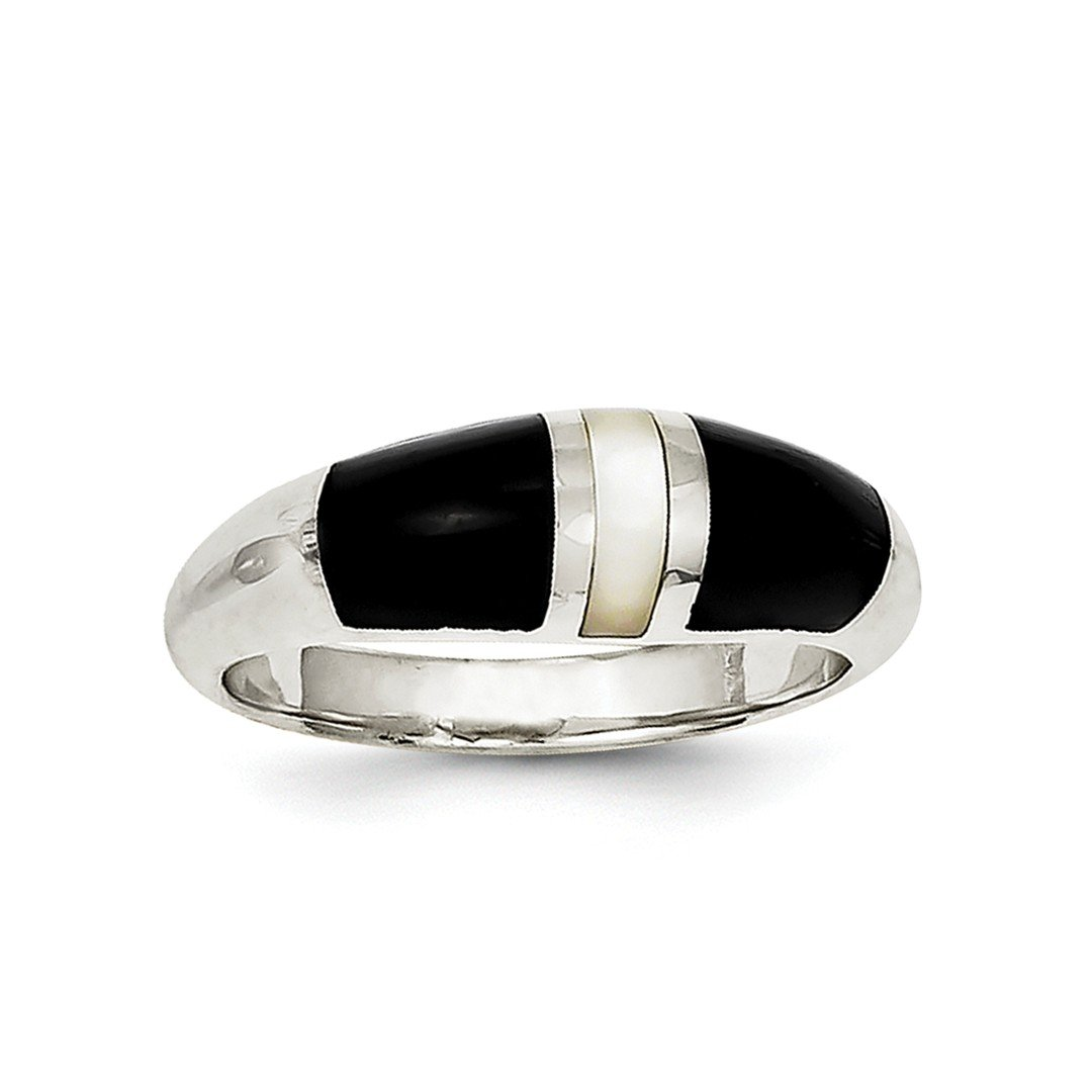 ICE CARATS 925 Sterling Silver Black Onyx Mother Of Pearl Band Ring Size 8.00 Natural Stone Fine Jewelry Ideal Gifts For Women Gift Set From Heart