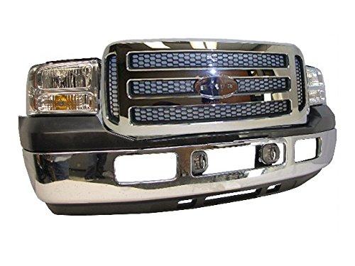 Bundle for 05-07 Super Duty F450 F550 Front Bumper Chrome Face Bar Valance Grille Chrome Honeycomb Fog Light 8pcs (Valance Super Duty)