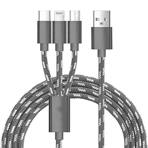 J2CC Multi USB Charging Cable, 3-in-1 Multiple USB Charger Cable with Lighting/Micro USB/Type C, Premium Nylon Braided Multi...