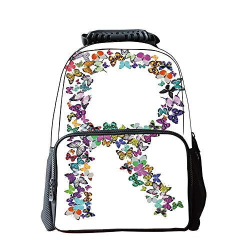 School Students Schoolbag,Letter R,A Collection of Butterflies in The Shape of Uppercase Letter Nature Inspired Font Decorative,Multicolor,for Children,Pictures Print Design ()