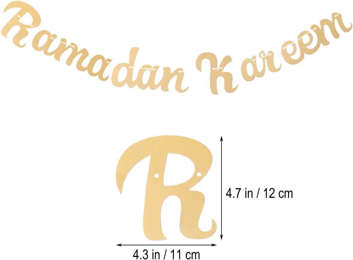 Amosfun 2pcs Set Islam Party Banni/ère Golden Eid Mubarak et Ramadan Kareem Lettres Banner Happy Eid Bunting Garland pour Lesser Bairam