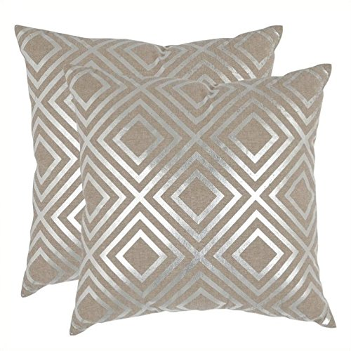 Safavieh Pillow Collection Throw Pillows, 22 by 22-Inch, Chloe Pillow Silver, Set of 2