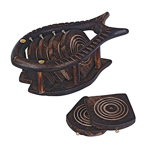 Wooden Handcrafted Fish Coaster Set of 6 - Coasters Fish