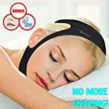 Anti Snore Chin Strap – Adjustable – Black – Prevents Snoring, Sleep Apnea - Latex Free – Non-Allergenic – Includes FREE Anti Snoring Nose Clip with Case - RENNOCCI
