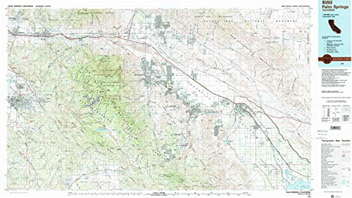 YellowMaps Palm Springs CA topo map, 1:100000 Scale, 30 X 60 Minute, Historical, 1984, Updated 1986, 23.9 x 42.4 in - ()