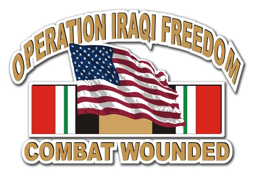 Military Vet Shop US Army Operation Iraqi Freedom Combat Wounded American Flag Ribbon Window Bumper Sticker Decal 3.8