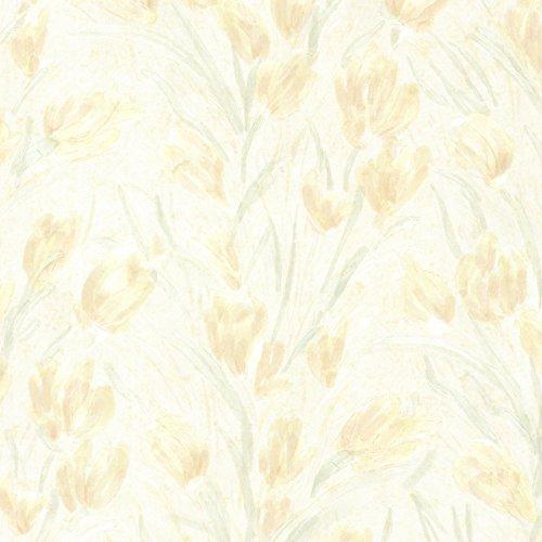 Jessamine Light - Brewster 2532-20472 Jessamine  Tulips Wallpaper, Light Yellow