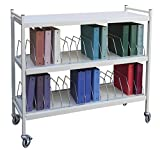 Extra Wide Vertical Open Chart Rack 3 Shelves 30 Binder Capacity (Light Gray)
