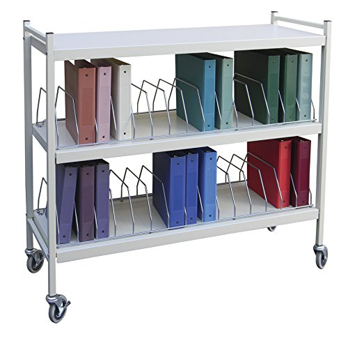Extra Wide Vertical Open Chart Rack 3 Shelves 30 Binder Capacity (Light Gray) by Omnimed