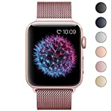 BRG for Apple Watch Band 38mm, Stainless Steel Mesh Milanese Loop with Adjustable Magnetic Closure Replacement iWatch Band for Watch Series 3 2 1, Rose Gold