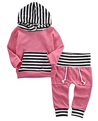 Newborn Baby Boy Girl Warm Striped Hoodie T-shirt Pants Outfit Set Kids Clothes by Aliven that we recomend individually.
