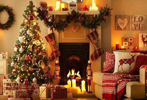 Leowefowa 7x5FT Merry Christmas Backdrop Xmas Decoration Tree Backdrops for Photography Fireplace Garland Gifts Stocking Interior Vinyl Photo Background Kids Adults Happy New Year Party Studio Props