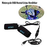 Junda Motorcycle Bike USB Electric Heated Grips Handle Handlebar Warmer Sleeves Connect to USB Power Adapter Socket, Switch Control
