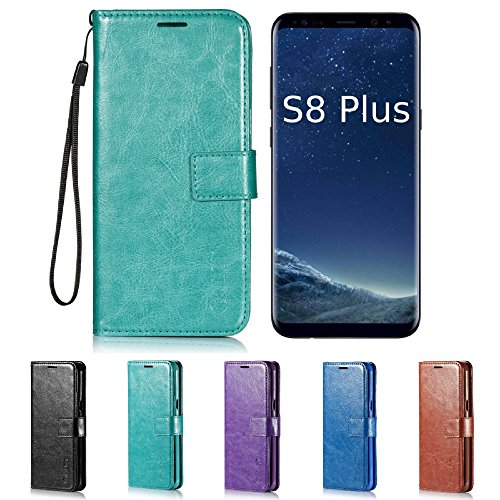 Price comparison product image Galaxy S8 Plus Case,  HLCT PU Leather Case,  With Soft TPU Protective Bumper,  Built-In Kickstand,  Cash And Card Pockets,  For Samsung Galaxy S8 Plus (Teal)