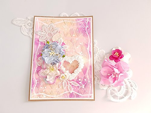 Handmade Paper Greeting Cards, For Birthday Gift Him And Her, Style Shabby Chic Flowers, Colors Pink Gold Romantic Love