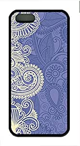 Blue And White Pattern Cover Case Skin for iPhone 5 5S Soft TPU Black