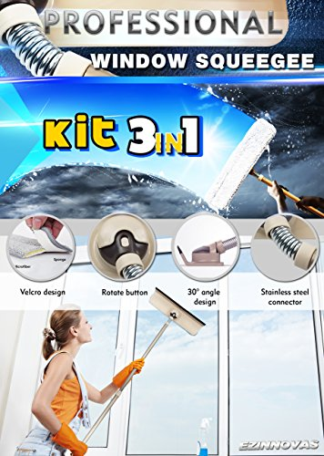 Professional Window Squeegee Kit 3 in 1 Window Cleaning for Glass, Mirror, Shower, Home, Bathroom, and Cars. Aluminum Alloy Extension Pole with Microfiber Scrubber, Compact, Detachable Cleaner. by Ezinnovas (Image #5)