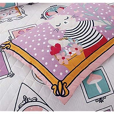 Junsey Girls Quilts Set Rabbit Bedspreads Full/Queen Size,3Pcs Kids Coverlet Set Lightweight Cartoon Bedding Cover Pillow Shams,Pink White: Kitchen & Dining