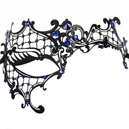 [Signstek Glossy Metal Filigree Phantom Half Eye Mask for Venetian Masquerade, Black/Blue Stones] (Masquerade Masks Metal)