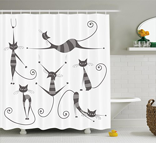 Cat Shower Curtain by Ambesonne, Furry Skinny Striped Cats in Several Funny Body Postures Whiskers Feline Paws Art Image, Fabric Bathroom Decor Set with Hooks, 70 Inches, - The Skinny Cat