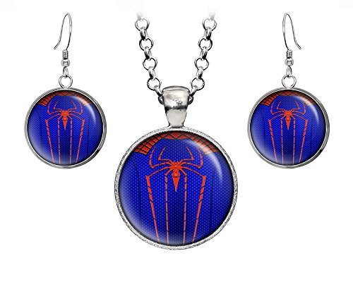 Spider-Man Pendant, Spiderman Necklace, The Avengers Jewelry Set, Shield Earrings, Superhero Earrings Gifts Gift, Geek Geeky Present Presents (Spider Man Jewelry)