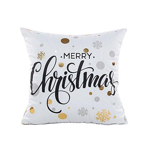 FarJing Pillow Cases,Christmas Linen Square Throw Flax Pillow Case Decorative Cushion Pillow Cover (45cmX45cm, Beige) -