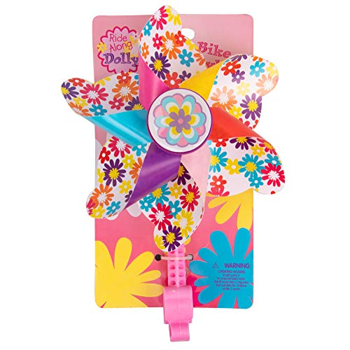 Ride Along Dolly Bike Handlebar Pinwheel - Spinning Flower Pinwheel for Kid's Bicycle - Snaps on for Easy Attachment
