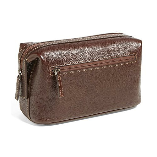 Boconi [Custom Initials Embossing] Tyler Tumbled Cargo Travel Kit in Coffee w/ Plaid by Boconi