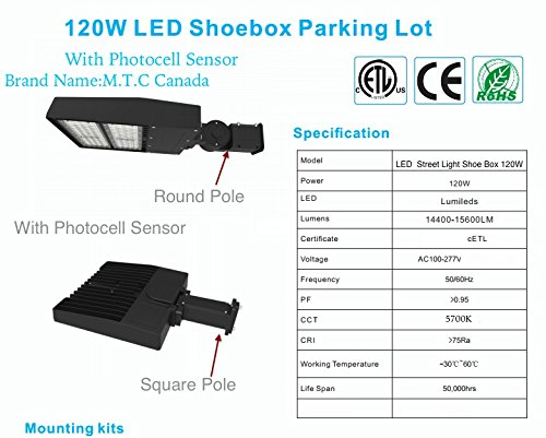 led street light shoe box area light 120w(450w eq ), 5700k 277V LED Screw Bulb