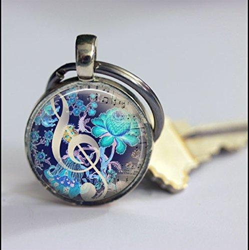 (Keychain Vintage Note De Musique Keychain,Vintage Music Art Pendant Key Chain,Handmade Keychain,Vintage Jewelry,Fashion Jewelry for Women Or)