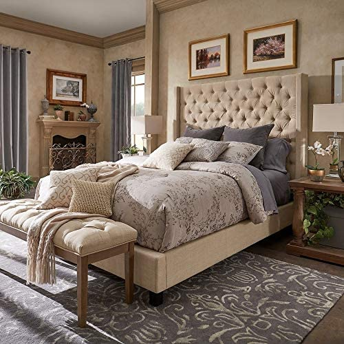 Inspire Q Naples Wingback Button Tufted Tall adboard Bed
