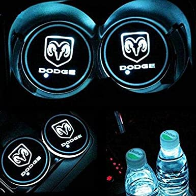 Dark rose 2pcs LED Car Cup Holder Lights LED Interior Atmosphere Lamp for All car Logo -N-i-s-s-a-n- 7 Colors Changing USB Charging Mat Luminescent Cup Pad