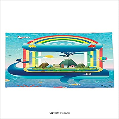 Vipsung Microfiber Ultra Soft Bath Towel Whale Decor Ecology Environmental Global Concept With A Rainbow Ocean And A Big Whale Multi Colored For Hotel Spa Beach Pool Bath