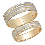 14K Solid White and Yellow Two Tone Gold His & Her's Matching Laser Cut Design Wedding Band Ring Set