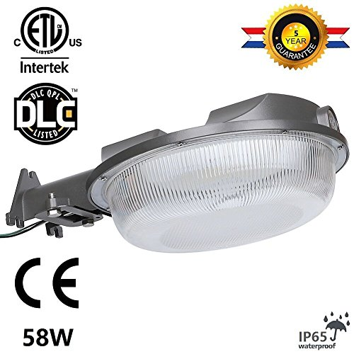 Cinoton 58W LED Barn Light,Outdoor floodlight(Photocell Included) 5000K Daylight,6400lm 5000K DLC & ETL-listed Yard Light for Area Lighting, Wet Location Available,Dusk-to-dawn