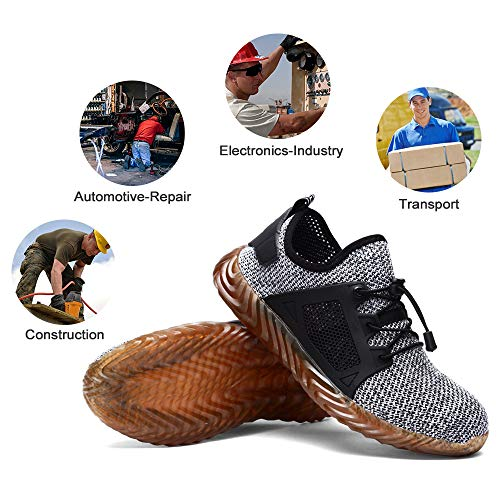 426dfcef0de62 DYKHMILY Steel Toe Shoes for Men and Women Safety Shoes for Men Slip  Resistant Work Shoes, Outdoor Hiking Trekking Trail Composite Shoes Light  Grey