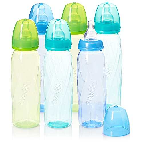 (Evenflo Feeding Premium Proflo Vented Plus Polypropylene Baby, Newborn and Infant Bottles - Helps Reduce Colic - Teal/Green/Blue, 8 Ounce (Pack of 6))