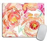 Peach Peony Rectangle Mouse Pad - Mousepad - Coworker Teacher Gift - Floral Print - Watercolor Flowers