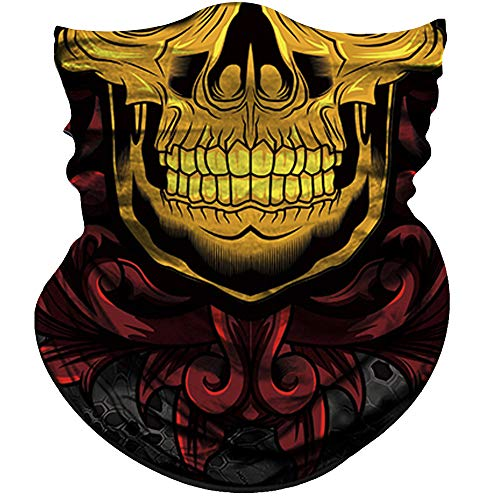 - Obacle Half Face Mask Sun Dust Wind Protection Durable Tube Face Mask Bandana Skull Skeleton Face Mask for Men Women Bike Riding Motorcycle Fishing Hunting Cycling (Skull Gold Face Teeth and Red Neck)