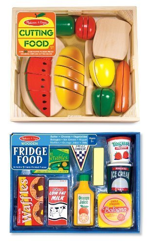 Doug Fridge Food (3 Item Bundle: Melissa & Doug Wooden Food Slicing + Fridge Food Set MD487/4076 + Coloring Activity Book)