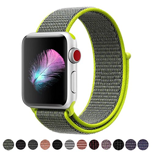 Yunsea Compatible for Apple Watch Band 44mm, Soft Nylon Sport Loop, with Hook and Loop Fastener, Band Compatible for iwatch Series 4 (44mm, Flash)